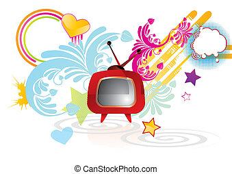 tv, abstratos, funky, retro, fundo, vermelho