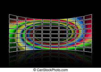 tv, affiché, mur, ensembles