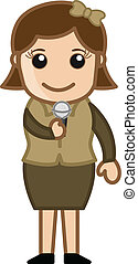 TV Anchor - Cartoon Singer - Drawing Art of Cartoon Young...