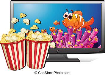 TV and popcorn - Illustration of a televistion and popcorn