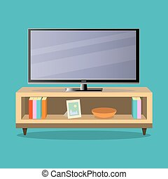 TV and TV table in living room on the green background Flat design, vector illustration