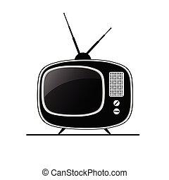 tv, antik, fekete, vektor