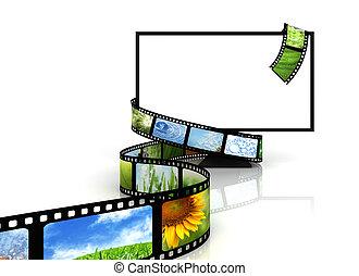 tv, ao redor, película, em branco
