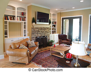 tv, apartamento, sala, família, painel