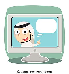 tv, arabe, intérieur, callout, homme affaires