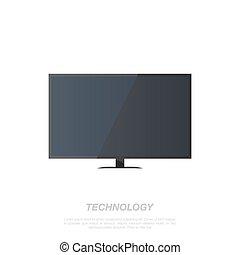 tv, arrière-plan., écran, blanc, lcd