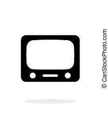 tv, arrière-plan., blanc, icône