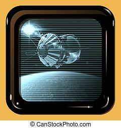 tv, astronave, primo, mostra, retro