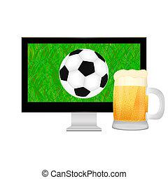 tv, balle, grande tasse, écran