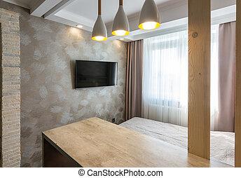 tv, belső, szálloda szoba, hálószoba