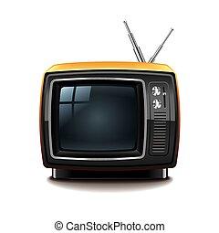 tv, bianco, vettore, isolato, retro