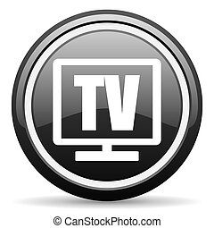 tv black glossy icon on white background