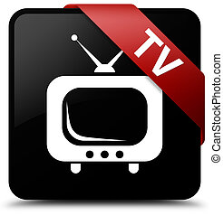 TV black square button red ribbon in corner