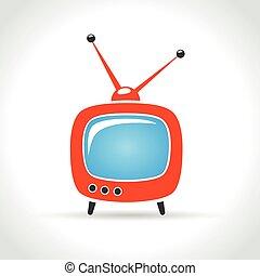 tv, blanc, ensemble, fond, icône