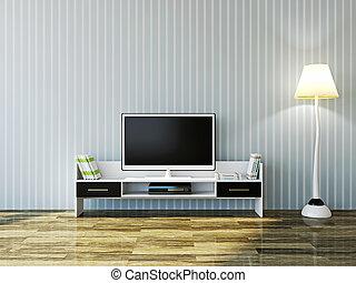 tv, blanc