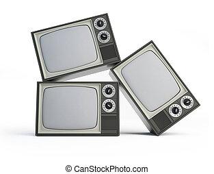 tv, blanc, noir, vieux