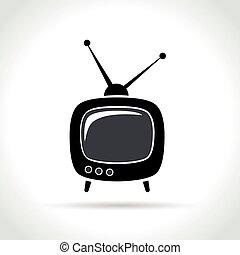 tv, blanc, retro, fond, icône