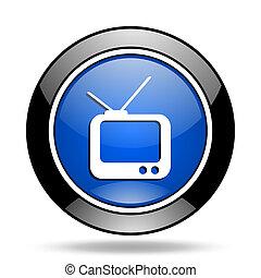 tv, bleu, lustré, icône