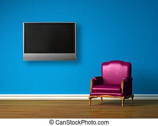 tv, blu, viola, sedia, minimalista, lcd, interno