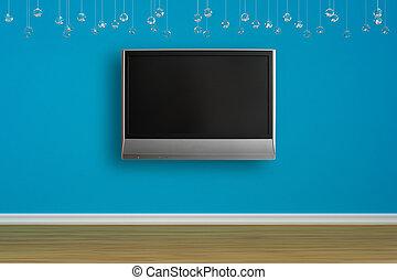 tv, blu, vuoto, parete, lcd