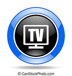 tv blue and black web glossy round icon