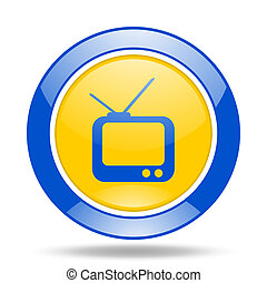 tv blue and yellow web glossy round icon