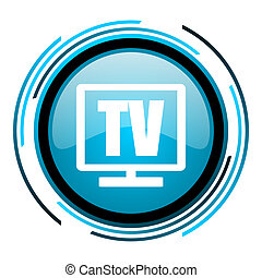 tv blue circle glossy icon