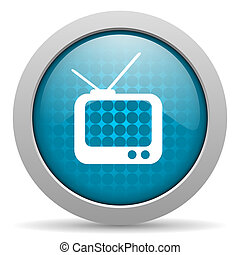 tv blue circle web glossy icon