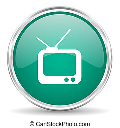 tv blue glossy circle web icon