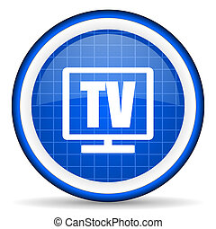 tv blue glossy icon on white background