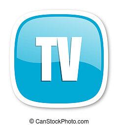 tv blue glossy web icon
