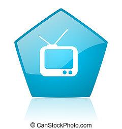 tv blue pentagon web glossy icon