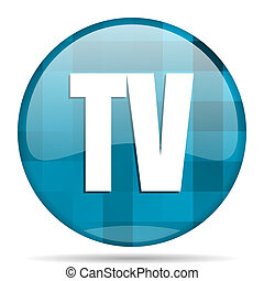 tv blue round modern design internet icon on white background