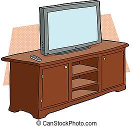 tv, bois, console