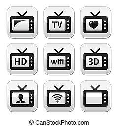 tv, bottoni, set, vettore, 3d, hd