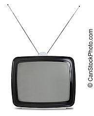 tv, branca, retro, isolado