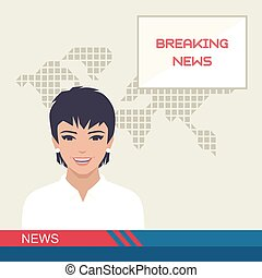 tv breaking news, studio reporter, media vector illustration