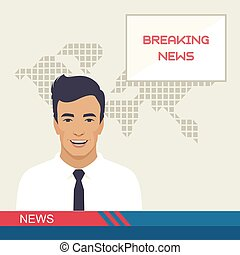 tv breaking news, studio reporter,