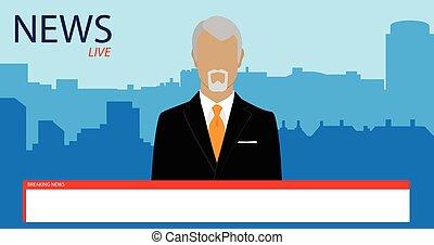TV broadcast news - Vector illustration anchorman on tv...
