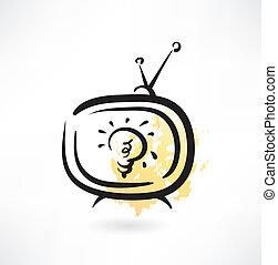 tv bulb grunge icon