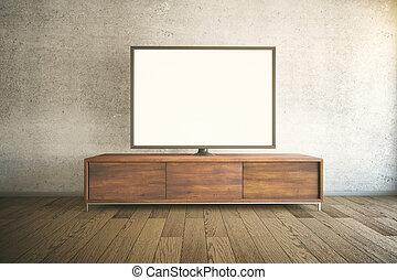 TV cabinet dark - Dark wooden TV cabinet with blank white TV...