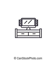 tv cabinet vector line icon, sign, illustration on...
