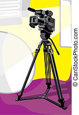 tv camera at studio - art illustration of tv camcorder on...