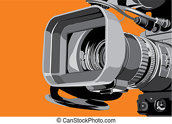 tv camera at studio - art illustration of tv camcorder in...