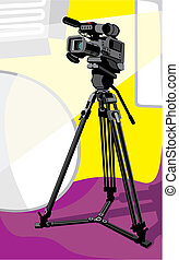 tv camera at studio - art illustration of tv camcorder on...