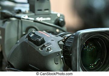 TV camera closeup lens & zoom button