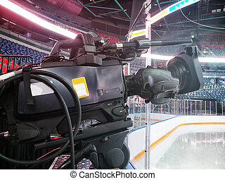 TV camera for broadcast hockey