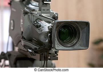 TV camera lens closeup