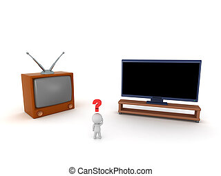 tv, caractère, 3d, vieux nouveau