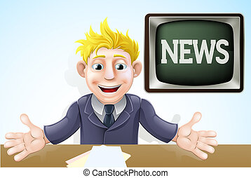 tv, caricatura, newscaster